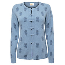 Buy East Kilow Bootie Print Cardigan, Sky Online at johnlewis.com