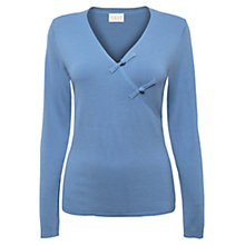 Buy East V-neck Button Detail Jumper, Wedgewood Online at johnlewis.com