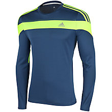 Buy Adidas Response Long Sleeve Crew Neck T-Shirt, Rich Blue/Solar Green Online at johnlewis.com