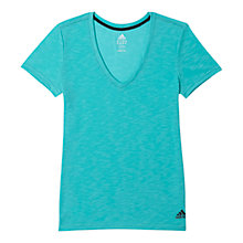 Buy Adidas Boyfriend Double V T-Shirt, Vivid Mint Online at johnlewis.com
