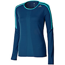 Buy Adidas Response Crew Neck Long Sleeve T-Shirt, Vista Blue/Vivid Mint Online at johnlewis.com
