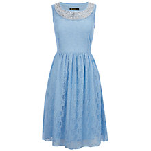 Buy Rise Judy Pearl Trim Lace Dress, Pale Blue Online at johnlewis.com