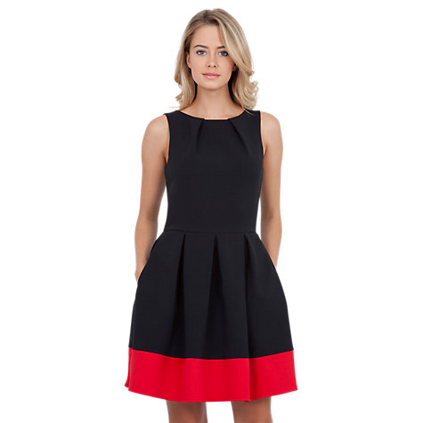 Buy Closet Contrast Hem Full Dress, Black Online at johnlewis.com