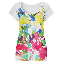 Buy Collection WEEKEND by John Lewis Painterley Floral Front Linen T-Shirt, White/Multi Online at johnlewis.com