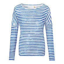 Buy Collection WEEKEND by John Lewis Drop Shoulder Linen Top, White/Blue Online at johnlewis.com