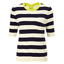 Buy Collection WEEKEND by John Lewis Textured Stripe Knitted Top, Navy/Cream Online at johnlewis.com