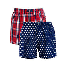 Buy Gant Star and Check Boxers, Pack of 2, Red/Navy Online at johnlewis.com