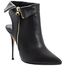 Buy Dune Chrissie Leather Open Heel Ankle Boots, Black Online at johnlewis.com