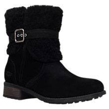 Buy UGG Blayre II Low Block Heel Calf Boots, Black Suede Online at johnlewis.com