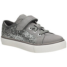 Buy Clarks Children's Brilliant Silver Canvas Trainer, Silver Grey Online at johnlewis.com