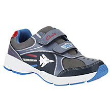 Buy Clarks Children's Jet Stomp Denim Leather Trainers, Navy Multi Online at johnlewis.com