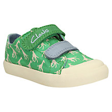 Buy Clarks Children's Halcy Fly Trainers, Green/Cream Online at johnlewis.com