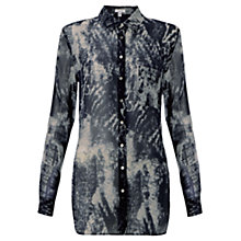 Buy Jigsaw Watermark Print Blouse, Navy Online at johnlewis.com