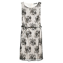 Buy Mango Floral Lace Dress, White/Black Online at johnlewis.com