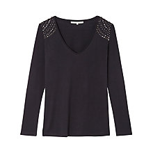 Buy Gérard Darel Silk Blend Stud T-Shirt, Black Online at johnlewis.com