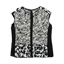 Buy Violeta by Mango Monochrome Print Blouse, Black Online at johnlewis.com