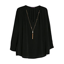 Buy Violeta by Mango Necklace Blouse, Black Online at johnlewis.com