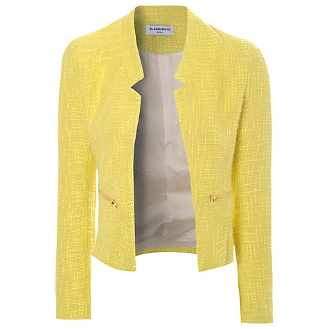 Buy True Decadence Textured Cropped Blazer, Yellow Online at johnlewis.com