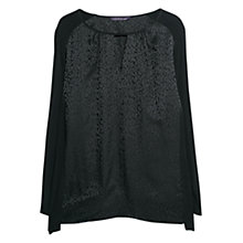 Buy Violeta by Mango Jacquard Silk Blend Blouse, Black Online at johnlewis.com