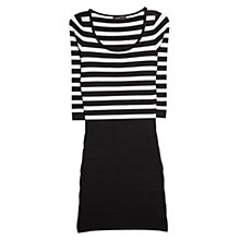 Buy Mango Striped Contrast Bodice Dress, Black/White Online at johnlewis.com