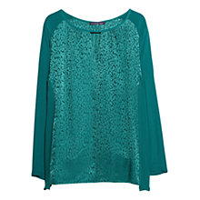 Buy Violeta by Mango Jacquard Print Silk Blouse, Dark Green Online at johnlewis.com