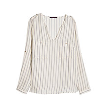 Buy Violeta by Mango Stripe Print Blouse, Natural White Online at johnlewis.com