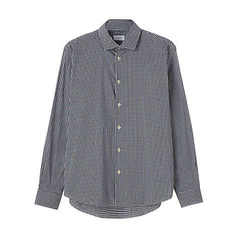 Buy Jigsaw Gingham Stretch Long Sleeve Shirt, Navy Online at johnlewis.com