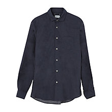 Buy Jigsaw Micro Spot Cotton Long Sleeve Shirt, Navy Online at johnlewis.com