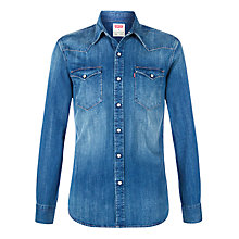 Buy Levi's Dark Denim Long Sleeve Western Shirt, Blue Online at johnlewis.com