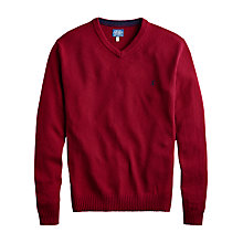 Buy Joules Retford Wool Blend V-Neck Jumper, Red Wine Online at johnlewis.com
