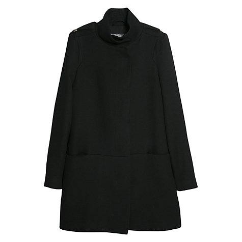 Buy Mango Straight Cut Coat, Black Online at johnlewis.com
