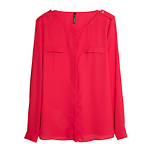Buy Mango Round Neck Chiffon Blouse, Red Online at johnlewis.com