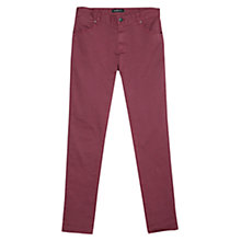 Buy Mango Slim Fit Cotton Trousers, Dark Red Online at johnlewis.com