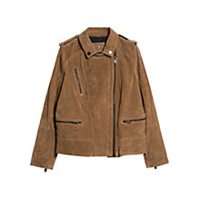 Buy Violeta by Mango Peccary Leather Biker Jacket, Light Beige Online at johnlewis.com