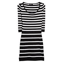 Buy Mango Striped Fitted Dress, Natural White Online at johnlewis.com