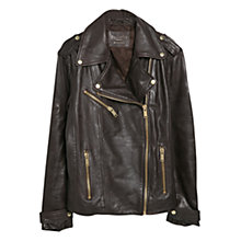 Buy Violeta by Mango Leather Biker Jacket, Dark Brown Online at johnlewis.com