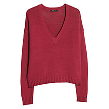 Buy Mango Dropped Shoulder V-Neck Jumper, Dark Red Online at johnlewis.com