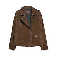 Buy Violeta by Mango Peccary Biker Jacket, Dark Brown Online at johnlewis.com