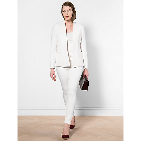 Buy Violeta by Mango Satin Collar Crepe Blazer, Natural White Online at johnlewis.com