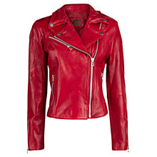 Buy Mango Leather Biker Jacket, Red Online at johnlewis.com