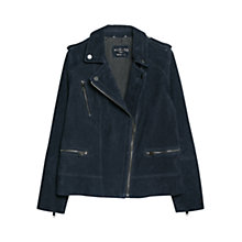 Buy Violeta by Mango Peccary Leather Biker Jacket, Navy Online at johnlewis.com