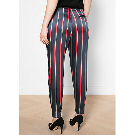 Buy Violeta by Mango Satin Striped Trousers, Navy Online at johnlewis.com