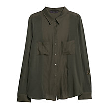 Buy Violeta by Mango Contrast Panel Cotton Shirt, Khaki Online at johnlewis.com