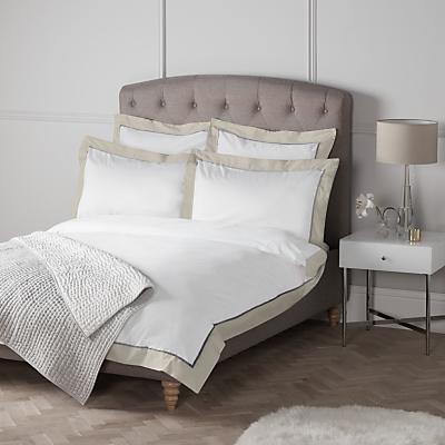 John Lewis Padova Border Egyptian Cotton Bedding, White/Grey