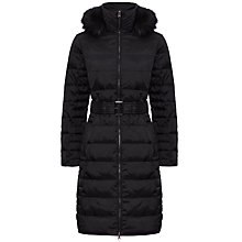 Buy Jaeger Fur Trim Belted Puffa Coat, Black Online at johnlewis.com