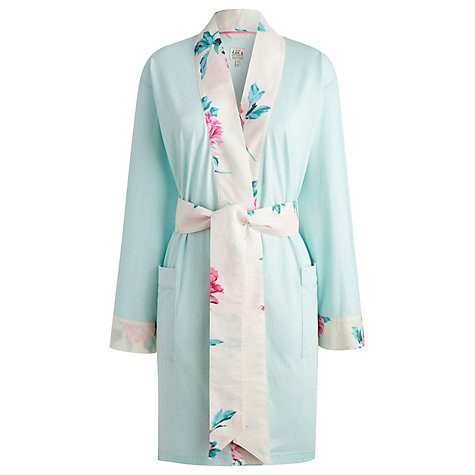 Joules Serena Jersey Robe, Turquoise, Short dressing gown