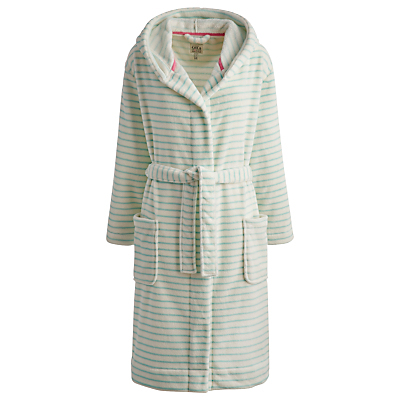 Joules Rita Stripe Robe, Turquoise / White
