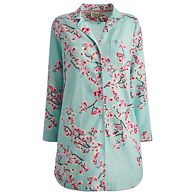 Joules Jenna Floral Nightshirt, Turquoise