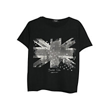 Buy Mango Flag Print T-shirt, Black Online at johnlewis.com