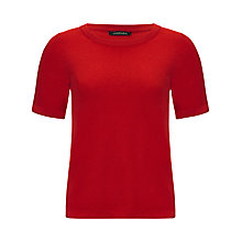 Buy Jaeger Short Sleeve Cashmere Top, Cherry Online at johnlewis.com